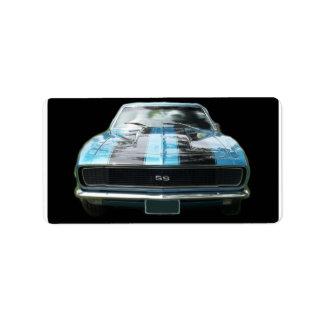 Azul de cielo SS Camaro con las rayas negras Etiqueta De Dirección