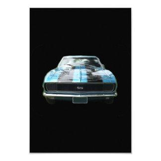 """Azul de cielo SS Camaro con las rayas negras Invitación 3.5"""" X 5"""""""