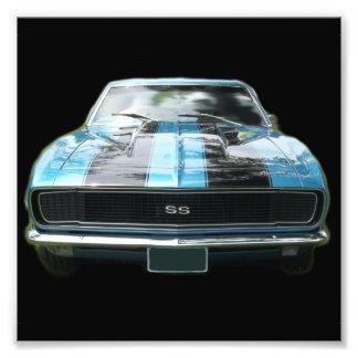 Azul de cielo SS Camaro con las rayas negras Fotografías