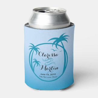 Azul de cielo tropical del logotipo el | del Palm Enfriador De Latas