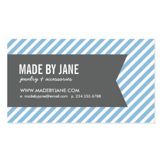 Azul de cielo y rayas y cinta modernas del carbón tarjetas de visita