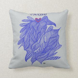 Azul de Civishi #294 - corazón abstracto en alga Cojin