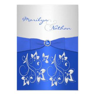 Azul de cobalto e invitación floral de plata del