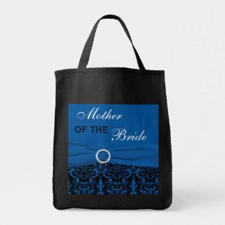 Azul de cobalto, madre negra del damasco de la bolsa tela para la compra