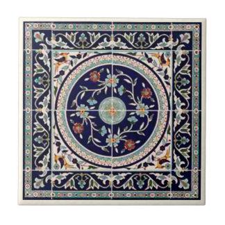 Azul de cobalto palestino de la baldosa cerámica - azulejo cuadrado pequeño