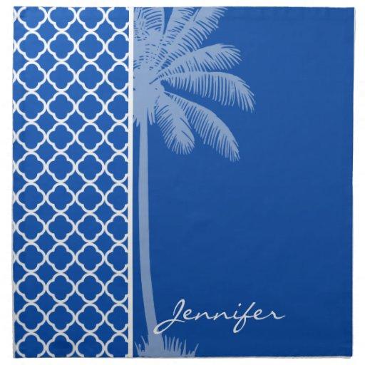 Azul de cobalto Quatrefoil; Palma Servilleta