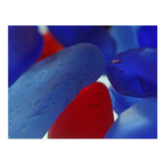 Azul de cobalto raro y rojo Seaglass Tarjetas Postales