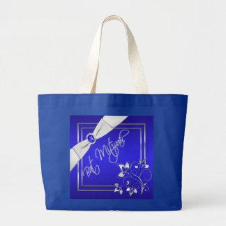 Azul de cobalto y la bolsa de asas enorme de plata