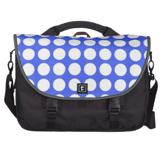 Azul de cobalto y lunares blancos grandes bolsas de portátil