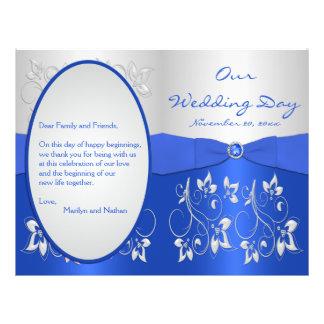 Azul de cobalto y programa floral de plata del bod flyer a todo color