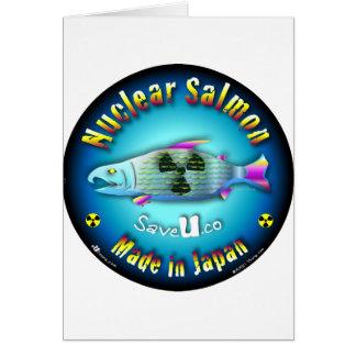Azul de color salmón nuclear tarjeta de felicitación