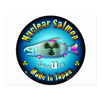 Azul de color salmón nuclear tarjetas postales