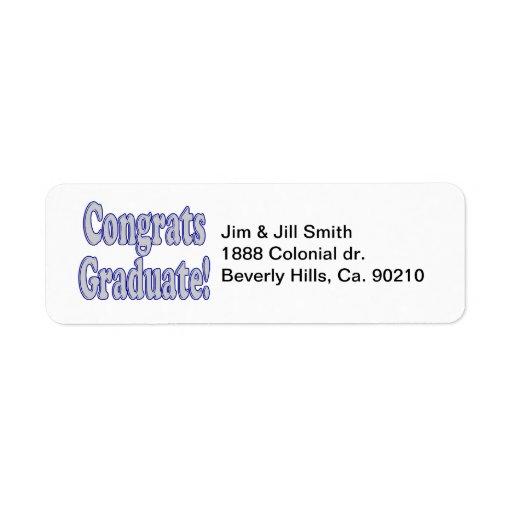 Azul de Congrats y de plata graduados Etiqueta De Remitente