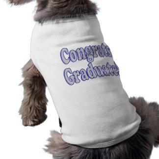 Azul de Congrats y de plata graduados Playera Sin Mangas Para Perro