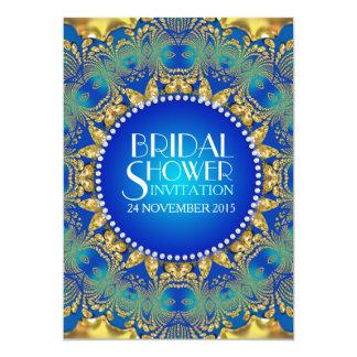 Azul de Deco del egipcio+La ducha nupcial de Sun Invitación 12,7 X 17,8 Cm