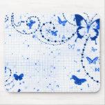 Azul de destello de la mariposa tapetes de ratón