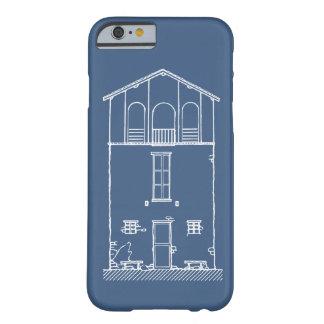 Azul de dibujo y blanco del modelo minúsculo de la funda para iPhone 6 barely there