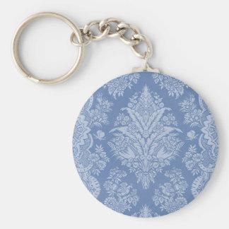 Azul de encaje elegante llavero redondo tipo pin
