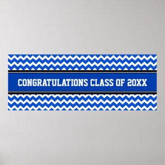 Azul de encargo de la bandera del año de la gradua póster