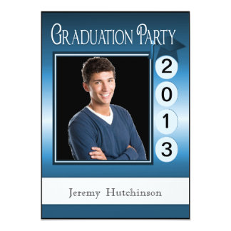 Azul de encargo de la foto de la fiesta de invitación 12,7 x 17,8 cm