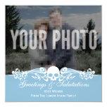 Azul de encargo del invierno de la foto del cráneo comunicados personalizados