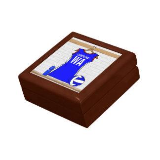 Azul de encargo del uniforme del Netball con rojo  Caja De Recuerdo