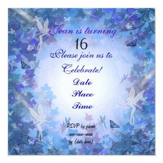 Azul de hadas de la invitación de la fiesta de