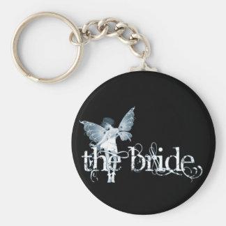 Azul de hadas del vestido blanco - la novia llavero redondo tipo pin