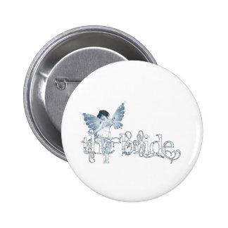 Azul de hadas del vestido blanco - la novia pin redondo 5 cm