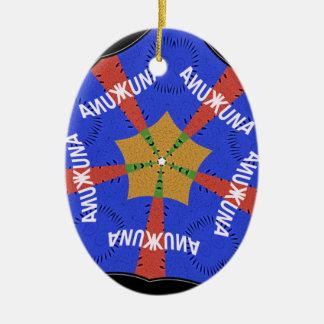 Azul de Hakuna Matata Iridiscent Adorno Navideño Ovalado De Cerámica