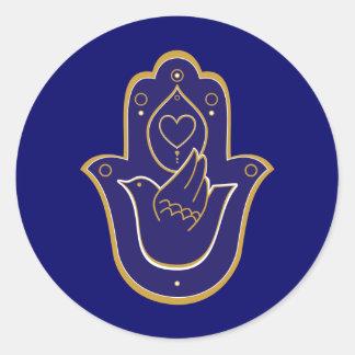 Azul de Hamsa de la paz y del amor de la alheña Pegatina Redonda