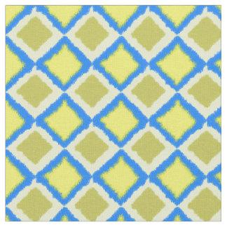 Azul de IKAT y materia textil del diamante del oro Telas