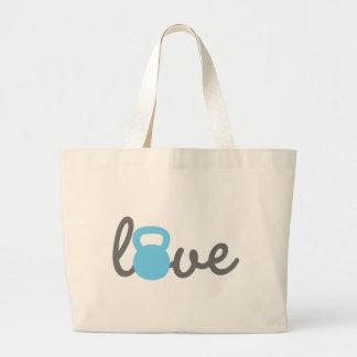Azul de Kettlebell del amor Bolsa Tela Grande