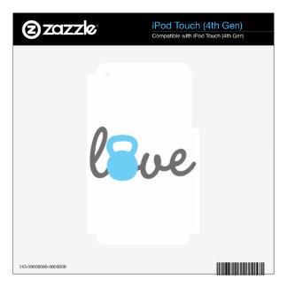 Azul de Kettlebell del amor iPod Touch 4G Skin