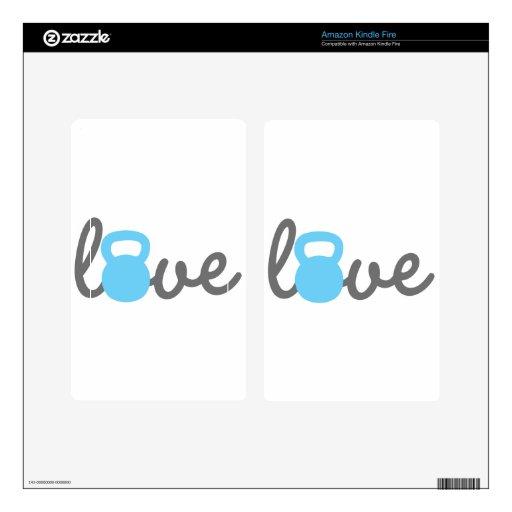 Azul de Kettlebell del amor Kindle Fire Pegatina Skin