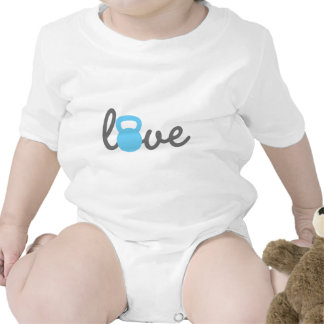 Azul de Kettlebell del amor Traje De Bebé