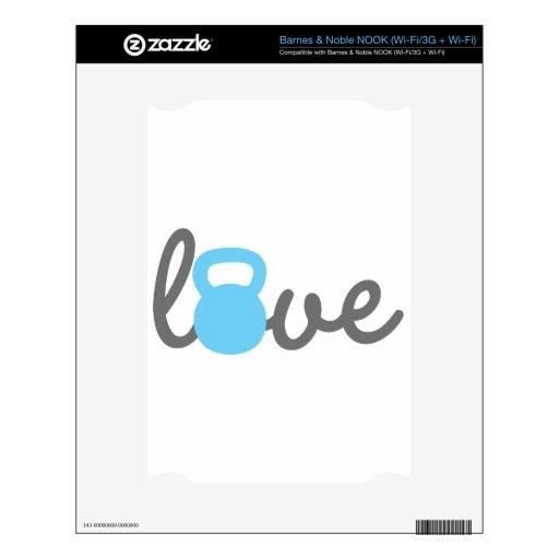 Azul de Kettlebell del amor Skin Para El NOOK