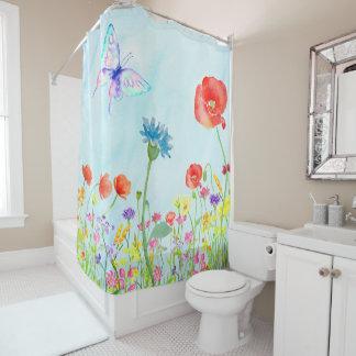 azul de la acuarela de la mariposa del prado de la cortina de baño