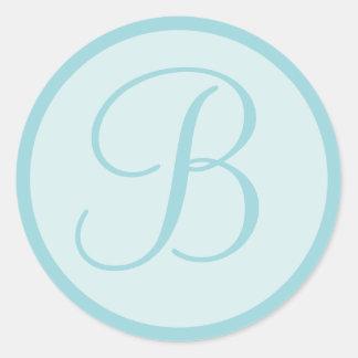 Azul de la aguamarina o sellos cones monograma del pegatina redonda