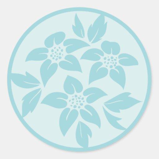 Azul de la aguamarina o sellos personales del pegatina redonda