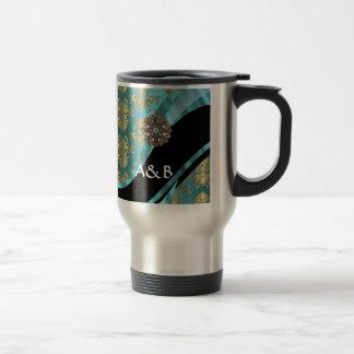 Azul de la aguamarina y cristal del damasco del or tazas de café