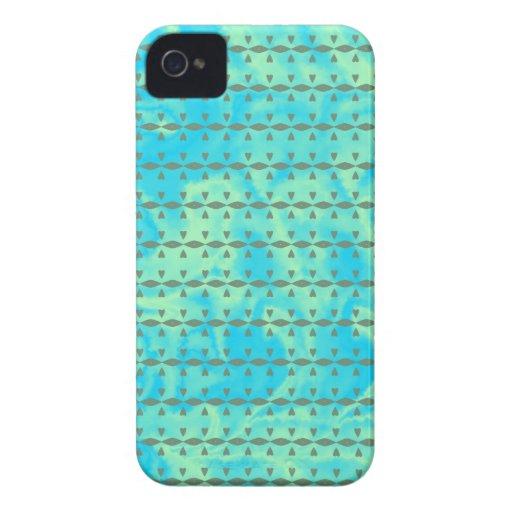 Azul de la aguamarina y línea de corazón de la cal iPhone 4 protectores