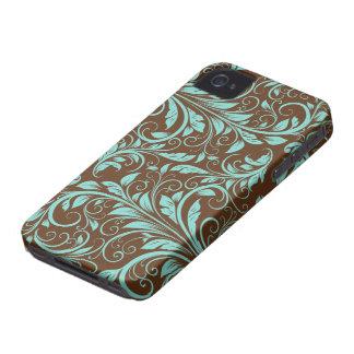 Azul de la aguamarina y modelo del damasco de funda para iPhone 4