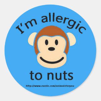 Azul de la alergia de la nuez pegatina redonda