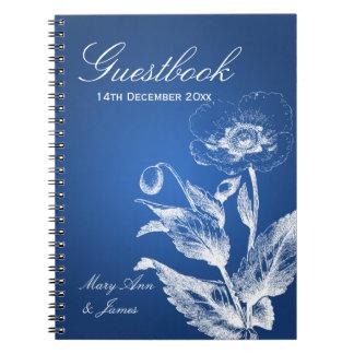 Azul de la amapola del Guestbook del boda Libreta Espiral
