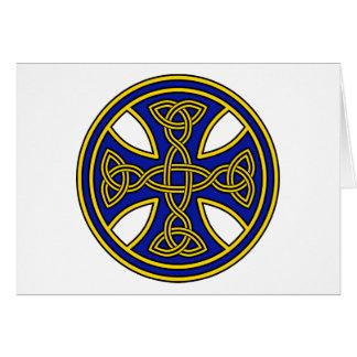 Azul de la armadura del doble de la cruz céltica tarjeta de felicitación