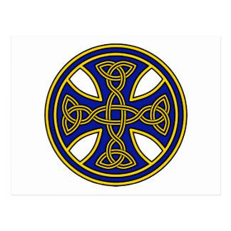 Azul de la armadura del doble de la cruz céltica tarjeta postal