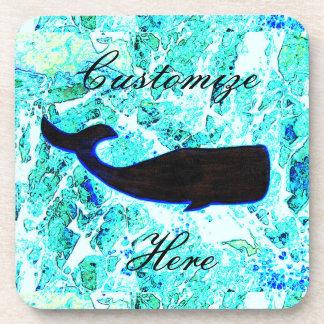 azul de la ballena negra posavasos de bebida