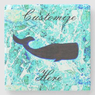 azul de la ballena negra posavasos de piedra