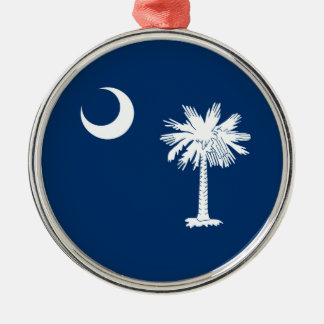 Azul de la bandera del estado de Carolina del Sur Adorno Navideño Redondo De Metal